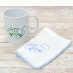 似顔絵 お仕立券 オーダーハンカチ&マグカップ (オ)ピコット刺繍ブルーハンカチセット マグカップとハンカチのセットです。