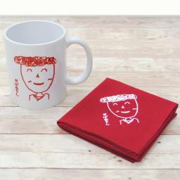 似顔絵 お仕立券 オーダーハンカチ&マグカップ (ウ)ラズベリーレッドハンカチセット マグカップとハンカチのセットです。