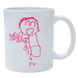 似顔絵 お仕立券 オーダーハンカチ&マグカップ マグカップに印字するイラストは、お届けしたお仕立券にてプリントの色を黒・ピンク・青・緑・茶から選択できます。(画像はピンク)