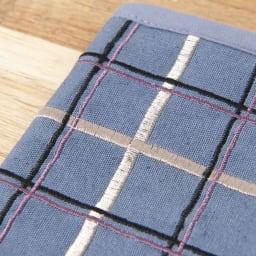 くろちく 刺繍ブックカバー 柄が選べる2個組 (ウ)小間格子スモーキーブルー