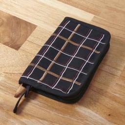 くろちく 刺繍ブックカバー 柄が選べる2個組 (エ)小間格子黒