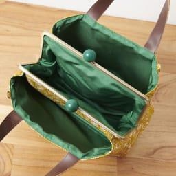 くろちく ふくれ織仕切がま口バック (イ)金色 内側