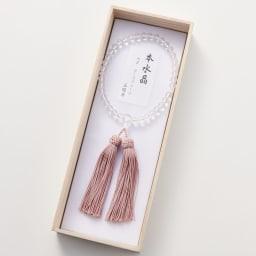 名前入れオーダー 京都中郷 本水晶・誕生月天然石入り京念珠 ケース付 (コ)10月 ローズクォーツ ※親玉に名前刻印致します。