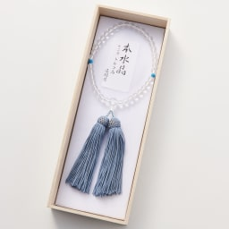 名前入れオーダー 京都中郷 本水晶・誕生月天然石入り京念珠 ケース付 (シ)12月 トルコ石(圧縮) ※親玉に名前刻印致します。