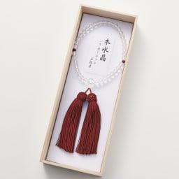 京都中郷 本水晶・誕生月天然石入り京念珠 ケース付 (ア)1月 ガーネット