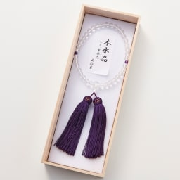 京都中郷 本水晶・誕生月天然石入り京念珠 ケース付 (イ)2月 紫水晶