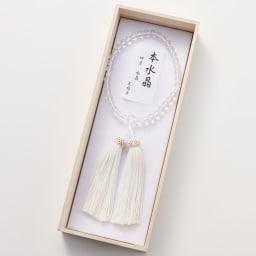 京都中郷 本水晶・誕生月天然石入り京念珠 ケース付 (エ)4月 水晶切子