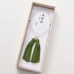 京都中郷 本水晶・誕生月天然石入り京念珠 ケース付 (オ)5月 アベンチュリン