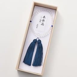 京都中郷 本水晶・誕生月天然石入り京念珠 ケース付 (ケ)9月 ラピスラズリ