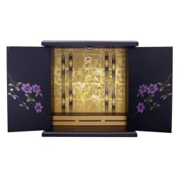 漆器ミニ仏壇 鉄仙 大&置き台 内寸:幅34.5奥行20高さ36.5cm ※こちらは仏壇単体です。