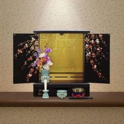 紀州塗 漆器ミニ仏壇 しだれ桜 仏壇・小&置き台 扉を開くと花枝が飛び出すような立体感に。