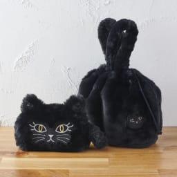 小悪魔Cat ファーバッグ&ポーチセット (ア)ブラック