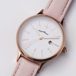 Angel Heart/エンジェルハート パステルハート ソーラー時計 (ア)ピンク 目盛りが大きく、一目で時刻のわかるわかりやすい文字盤デザイン。便利な日付表示付き。