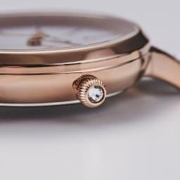 Angel Heart/エンジェルハート パステルハート ソーラー時計 りゅうずにはクリスタルガラスがあしらわれています。