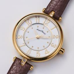 Angel Heart/エンジェルハート イノセントタイム ソーラー時計 (ア)ブラウン 大きく見やすいアラビア文字表記。一目で時刻がわかります。