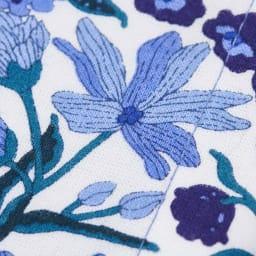 日本製 リバティプリント柄マスク (イ)ブルー生地アップ。繊細なリバティプリントが映える、綿100%生地。