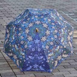 UVカット晴雨兼用長傘 ウィリアムモリス 1つのパネルだけが青系の色違いになっており、シックなデザイン。