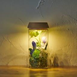 灯る仏花(R) りんどう ※置く場所の暗さにより点灯時の色味・見え方は異なります。