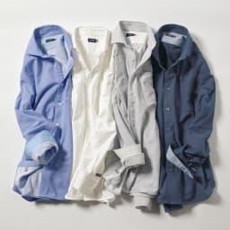 SCENE(R) タオルシャツ 左から(ア)サックス (イ)ホワイト (ウ)ストライプ (エ)ネイビー