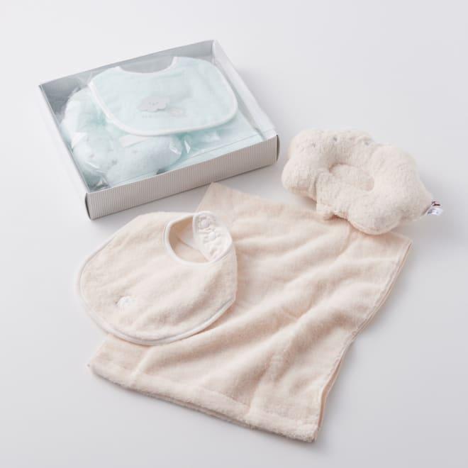 【今治産】白雲ベビータオルギフトセット(ベビー枕・タオル・スタイ) 上から(イ)ブルー (ア)ピンク 同素材のフェイスタオル、ベビー枕、スタイのギフト3点セット