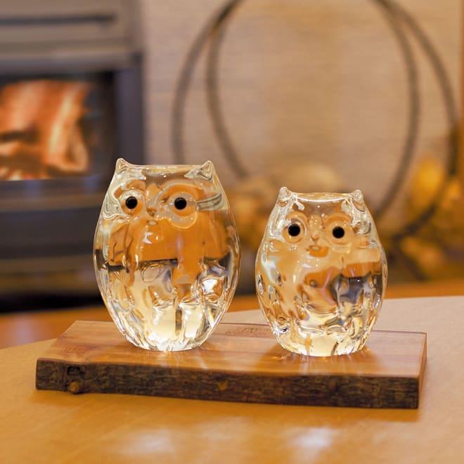 親子ふくろう クリア 青森県伝統工芸品 すべてハンドメイドのふくろうガラス置物。