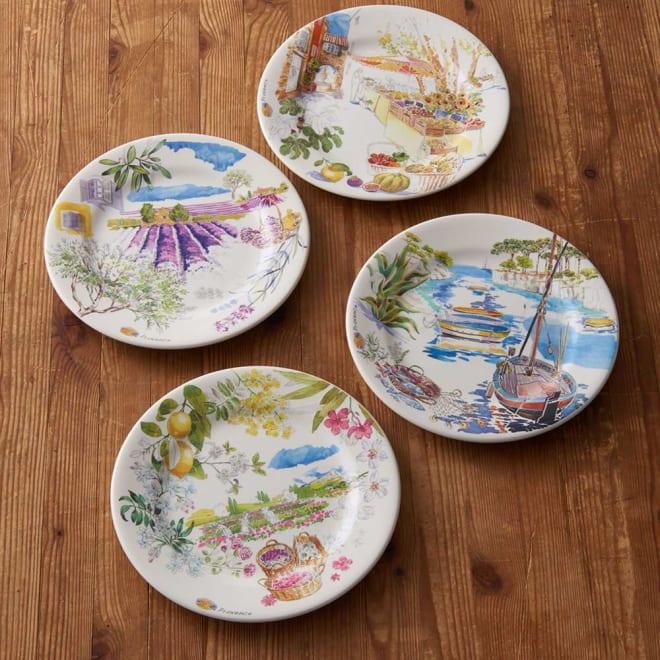 GIEN(ジアン) プロヴァンス デザートプレート柄違い4枚セット プロヴァンスの代表的な風景を描いた4枚。