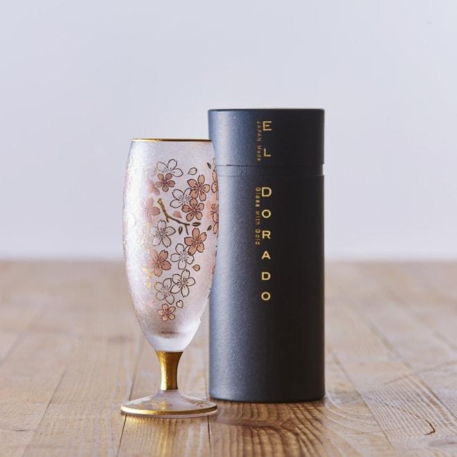 SAKURA 酒グラス 円柱の化粧箱入り。