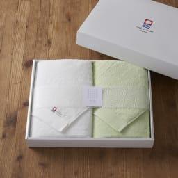 潤いのタオルバス2枚ギフトセット     バスタオル2枚のセット ボックス入りでプレゼントにもおすすめ。