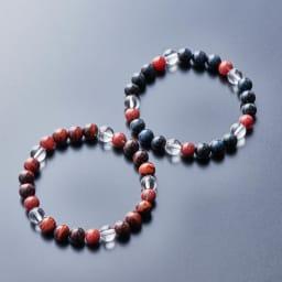 水晶×タイガーアイブレスレット(メンズ) 左(ア)ブラウン、右(イ)ダークブルー