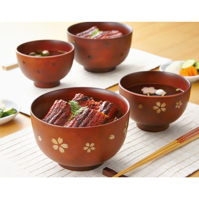 レンジと食洗機が使えるシリーズ 小丼4個組 手前:(ア)桜、奥:(イ)ドット