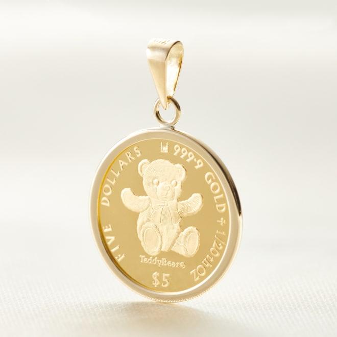 テディベア 純金1/20オンスコイン ペンダントヘッド 正統な英国コインです。