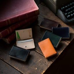 ブライドルレザー名刺ケース 左から時計回りに(ア)ブラック、(エ)ブラウン[キャメル色]、(ウ)ネイビー、(オ)グリーン、(イ)バーガンディ[こげ茶]