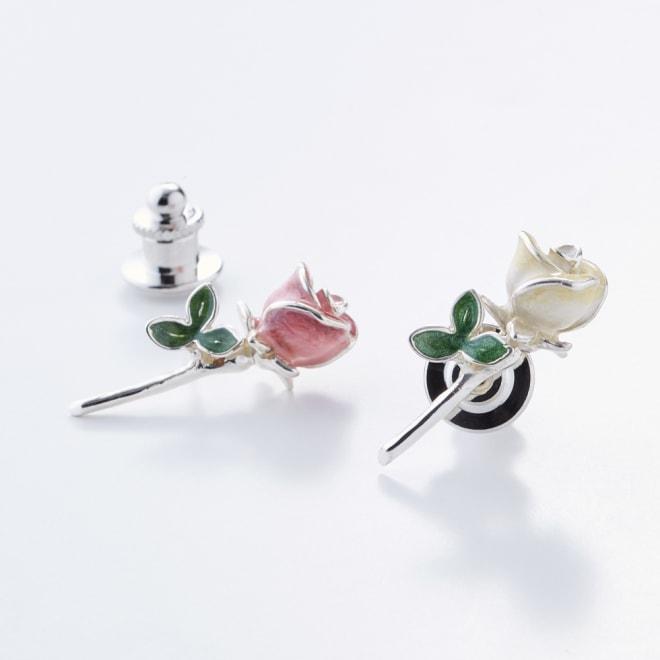 サツルノ バラピンブローチ(イタリア製) 左から(イ)ピンク・(ア)ホワイト