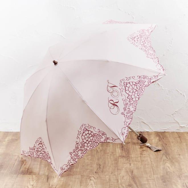 ディアカーズ 名入れ刺繍日傘 (イ)ピンク 日傘に「イニシャルの名入れ」が入れられます♪