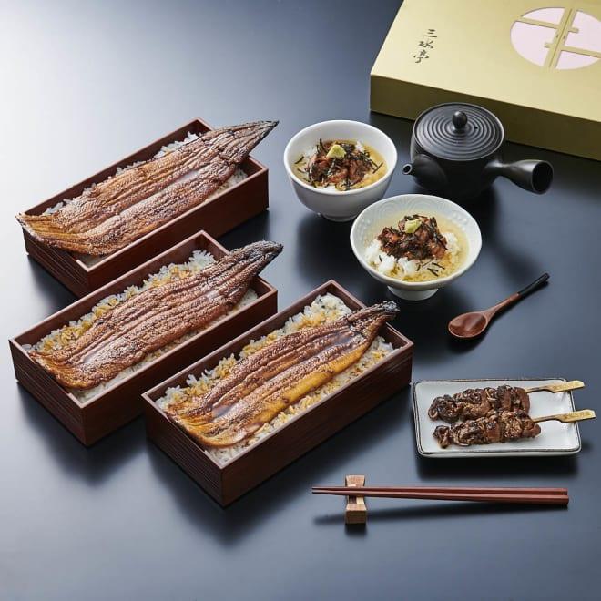 【夏ギフト】三水亭 特選うなぎ蒲焼セット(ギフト箱入り) 【盛付例】ふんわりやわらかな三河産のうなぎを色々な食べ方でお楽しみいただけます。