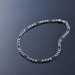 SATURNO/サツルノ 【メンズ】 シルバーアンクレットM(イタリア製) 2つのパーツを交互に組み合わせたフィガロデザインのアンクレット Mサイズ