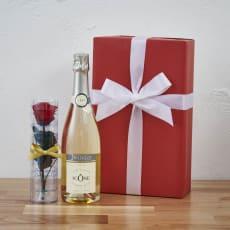 【Xmas・スパークリングワイン】プリザーブドフラワー赤バラ1本付きシャンパン  ギフトセット
