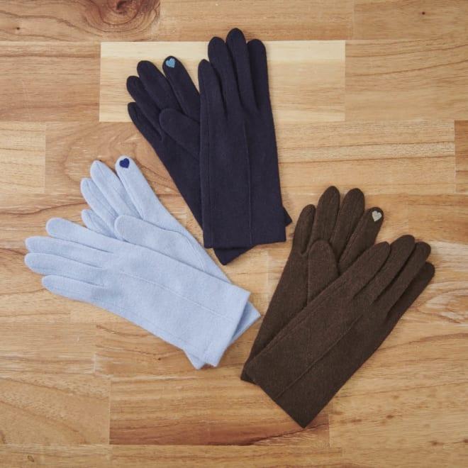 [婦人]日本製タッチパネルカシミア手袋 上から時計回りに(ア)ネイビー、(イ)ブラウン、(ウ)ソフトブルー