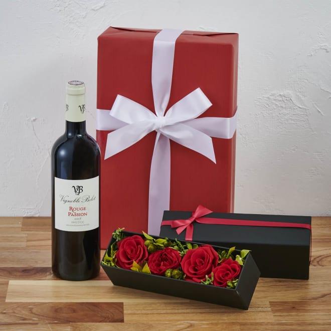 プリザーブドフラワーボックス(赤ローズ)付き フランス赤ワインギフトセット