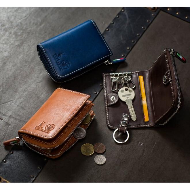 オリーチェ カード&コイン&キーケース 名入れ無し 上から時計回りに (イ)ネイビー (ウ)ダークブラウン (ア)ブラウン お財布・キーケース・IDカードケースを兼ねた便利アイテム。