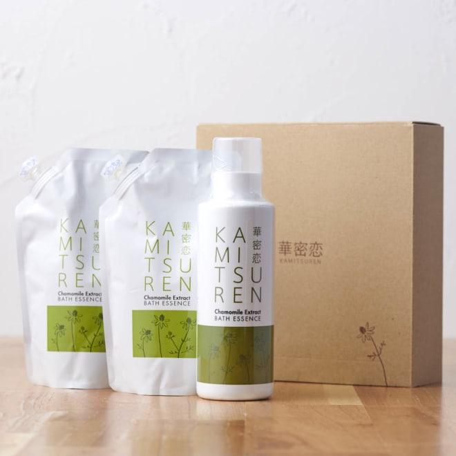 カミツレン入浴剤ギフト ボトル&詰替2袋 ギフトボックスに入れてお届けします。