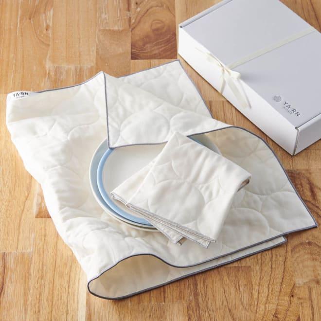 パシーマ(R)たっぷり水吸いサラリと乾く!キッチンふきん(M2枚・L1枚/ギフトボックス入りプレミアムセット) しっかりふき取れてサラリと乾く!医療用の脱脂綿とガーゼで作る『pasima (パシーマ)』のキッチンふきん。