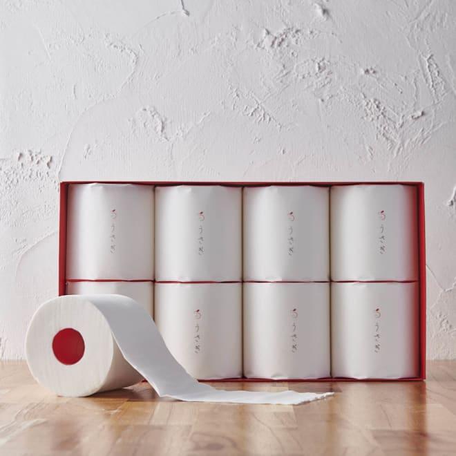 うさぎトイレットペーパーセット 8個 ギフトボックス 触ると驚きのやわらかさで気持ちいい!望月製紙がこだわってつくりあげた高級トイレットペーパー。