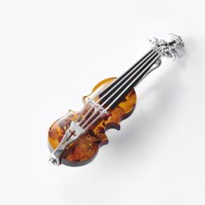 琥珀のバイオリンブローチ 写真