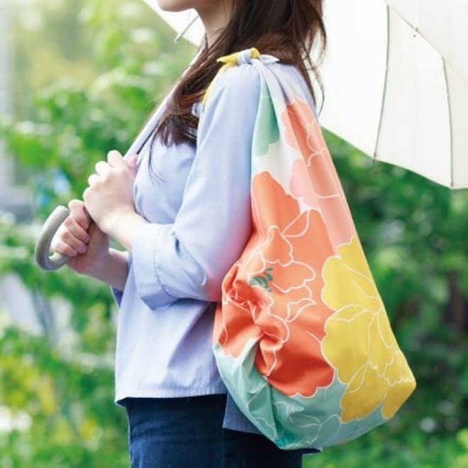 はっ水風呂敷 京都ふろしき専門店「むす美」 (ア)ボタン エコバッグに!はっ水なので雨の日も安心。