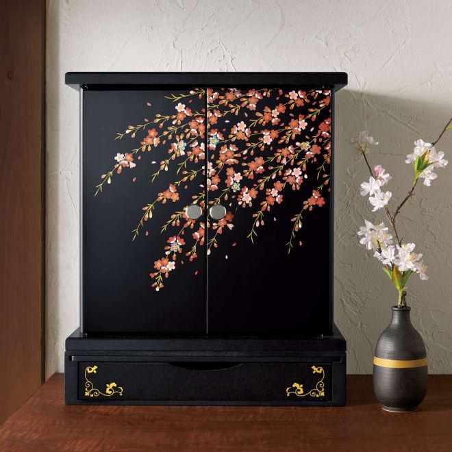 紀州塗 漆器ミニ仏壇 しだれ桜 仏壇・大&置き台