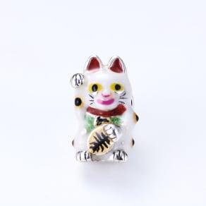 サツルノ シルバー ピンブローチ招き猫 写真