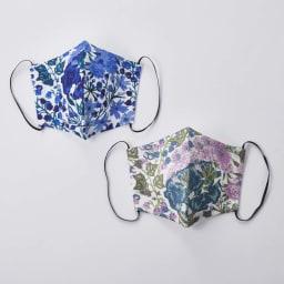 日本製 リバティプリント柄マスク 上から(イ)ブルー、(ア)ライトパープル