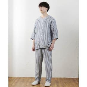 UCHINO/ウチノ マシュマロガーゼ メンズ七分袖パジャマ 写真