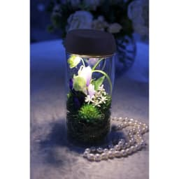 灯る仏花(R) りんどう 蓋に内蔵されたライトをつけるとボトル全体がライトアップされ美しく灯ります。※置く場所の暗さにより点灯時の色味・見え方は異なります。